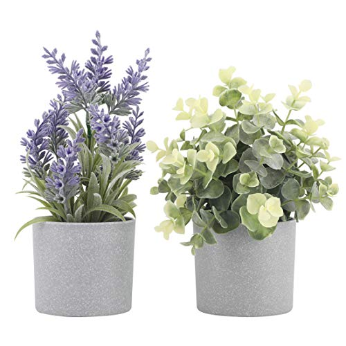 Set of 2 Artificial Potted Plants Potted Eucalyptus Plant Small Artificial Lavender Flowers in Grey...