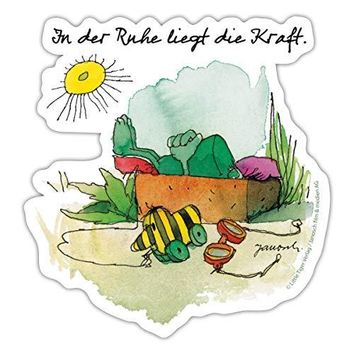 Janoschs Frosch und Tigerente Entspannung Spruch Sticker, One Size, Mattweiß