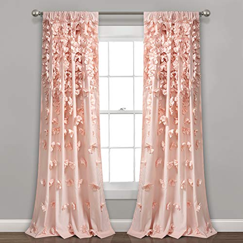"Lush Decor Blush Riley Curtain Sheer Ruffled Textured Bow Window Panel for Living, Dining Room, Bedroom (Single) 95"" x 54 L"