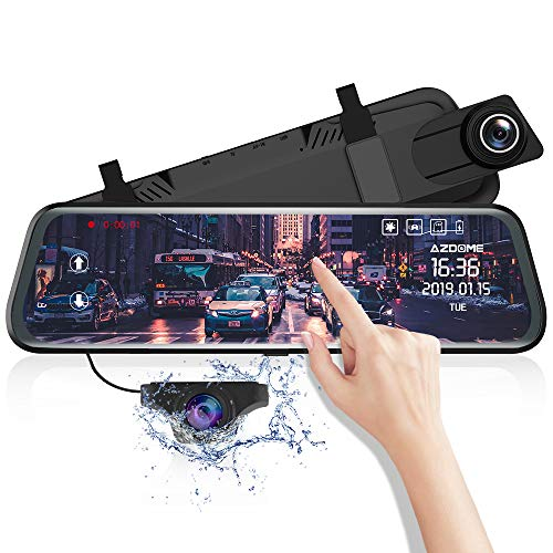 AZDOME 10' Mirror Dash Cam, Dual Lens Touch Screen,1080P HD Car Camera, Waterproof Backup Camera,Rear View Mirror Camera with Lane Departure Warning System,G-Sensor, Parking Assistance