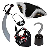 Funny Party Hats Adult Size Pirate Costume Set (Set of 5)