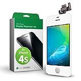 GIGA Fixxoo Kit Completo de Reemplazo de Pantalla iPhone 4s LCD Blanco; con Touchscreen, Cristal Retina Display, cámara y Sensor de proximidad - Fácil instalación y reparación guiada DIY