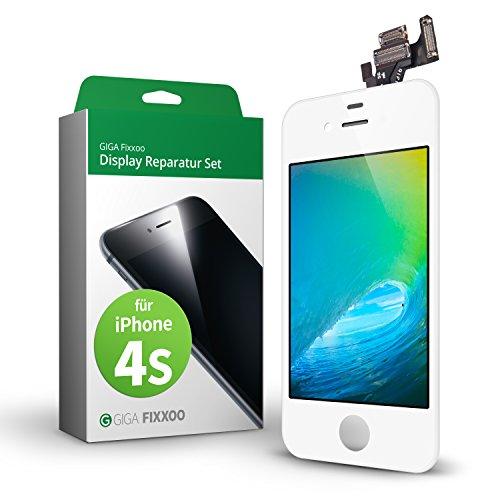GIGA Fixxoo Kit di Ricambio per Schermo di iPhone 4s, Completo con LCD Bianco, Touch Screen Display Retina in Vetro, Fotocamera e Sensore di Prossimità - Guida per Riparazione Facile & Veloce