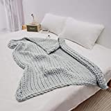 Trunkor 50x60 Inch Faux Wool Chunky Knit Blanket Throw - Light Gray - A Beautiful, Luxurious, Boho, Chunky Blanket for Your Bed, Sofa, Living Room, Bedroom, Or Home Decor