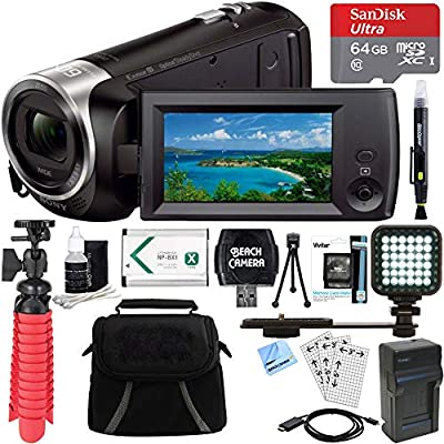Sony HDR-CX405/B Full HD 60p Camcorder + 64GB Ultra MicroSDXC UHS-I Memory Card + NP-BX1 Battery Pack + Accessory Bundle by Sony
