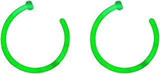 BodyJewelryOnline Glow Nose Hoops - Pair of Glow Bioflex Nose Piercing Hoops - 18ga or 20ga (18g (1 mm); 8 mm (5/16