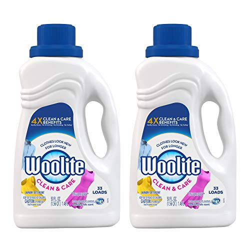 Woolite Clean & Care Liquid Laundry Detergent, 2x33 Loads, 2x50oz, Regular& HE Washer, Gentle Cycle, sparkling falls scent,packaging may vary