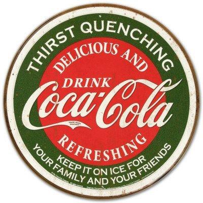 Coca Cola Coke Logo soif brusque rond Vert Plaque en métal rétro montrant l'30 x 30 cm