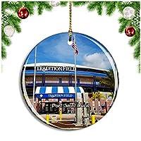 ポートセントルーシーファーストデータフィールドフロリダ米国クリスマスデコレーションオーナメントクリスマスツリーペンダントデコレーションシティトラベルお土産コレクション磁器2.85インチ