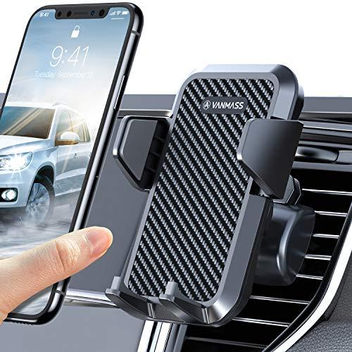 VANMASS Handyhalterung Auto Lüftung 2021 Handyhalter fürs Auto Kfz Handyhalterung mit 2 Upgrade Lüftungsclips 100{799d5a93ebff55699e0471e84f8ac726148b88b541f4c29762deb1a91d64ccb2} Silikonschutz Smartphone Halterung Auto 360° Drehbar für iPhone Samsung Huawei LG usw
