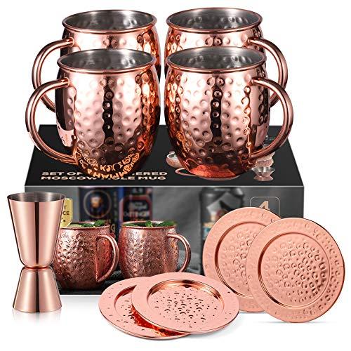QCen Moscow Mule Becher, Kupferbecher Set mit 4 Untersetzer und 1 Messbecher, 530ml Handgefertigt Kupfertassen Großartig für Cocktail Gekühlte Getränk, Vodka, Geschenk