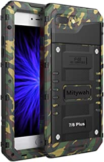 Mitywah Case Compatible with iPhone 7 Plus/iPhone 8 Plus, Waterproof Shockproof Heavy Duty Cover with Impact Resistant Rugged Though Metal,Armor Military Grade Defender Outdoor,Camouflage