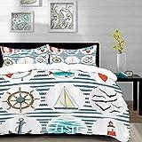 ropa de cama - Juego de funda nórdica, puesto náutico, juego de mar con peces Lifebuoy Gulls Lighthouse Tema marino inspirado en el mar, Lig, juego de funda nórdica de microfibra con 2 fundas de almoh