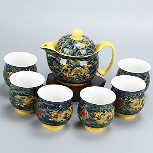 DIAOD Chinese Ceramic Tea Set Kung Fu Porcelain Tea Cup Pot Set Dragon Teapot Teacup Kungfu Teaset