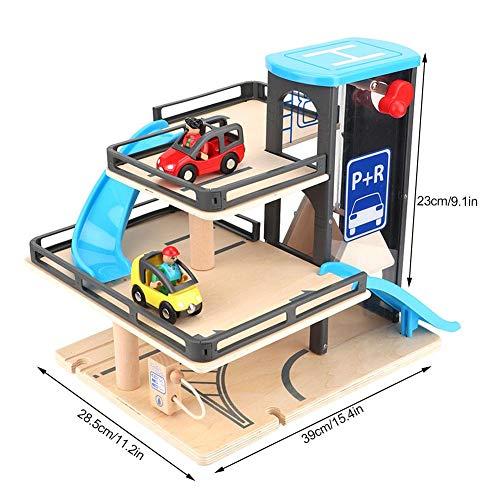Parcheggio Modello Lega di Legno Tre Strati Car Garage Track Auto Giocattolo Sviluppare Brain Game Educazione Precoce Cognizione Giocattolo Compleanno Natale Regalo per 3 4 5 6 Anni Bambini