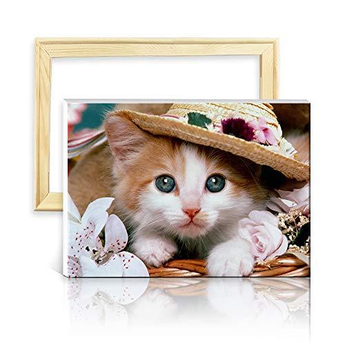 ufengke Katze mit Hut 5D Diamant Malerei Set Mosaik DIY Diamond Painting nach Zahlen Kreuzstich Stickbilder, mit Holzkeilrahmen, Design 25x35cm