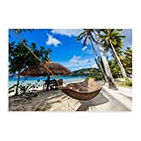Hamaca tejida y palapa en la playa de la isla de Palawan, póster de lona de Filipinas, decoración de dormitorio, paisaje, oficina, decoración de habitación, regalo Unframe: 60 x 90 cm