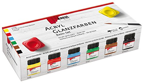Kreul 79600 - Acryl Glanzfarben im Set, 6 x 20 ml Farbe und ein Pinsel, glänzend-glatte Acrylfarbe zum Anmalen und Basteln, auf Wasserbasis, speichelecht, schnelltrocknend und deckend