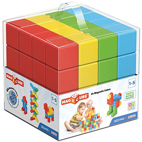 Geomag Magnetic Toys | 64 Pieces Toddler Magnets | STEM-endorsed Educational Building Cube Set for Creativity & Early Learning Fun | Swiss-Made | Ages 1-5