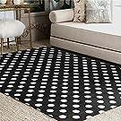 ALAZA White Black Polka Dot Area Rug Rugs for Living Room Bedroom 7' x 5'