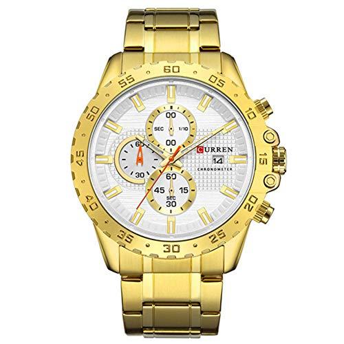 Curren Reloj de negocios para hombre con cronómetro y caja de acero dorado 8334