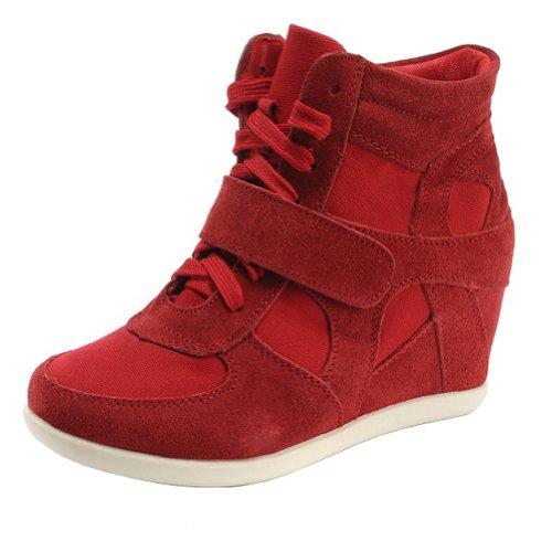 Rismart Mujer Zapatos Formal Oculto Tacón Cuña Gamuza Tela Zapatillas (Rojo,EU37)