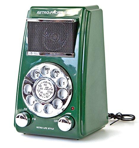 Retro radio met draaischijf in trendy kleur groen jaren 70 design vintage radio