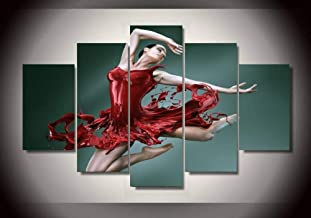 YYDXDB 5 canvas paintings HD Printed Dance of the red skirt girl art picture painting wall art room decor poster Framed-40x60 40x80 40x100cm