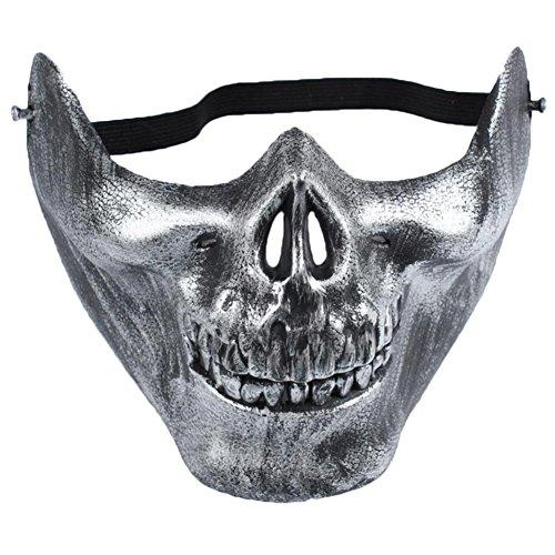 ruikey Totenkopf Skelett Maske Airsoft Jagd Schützen CS Warrior Maske Cosplay Requisiten für Halloween, plastik, silber, 15*19*13cm