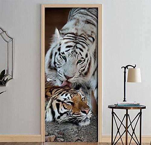 ZZwy Door Stickers 3D Türaufkleber Türfolie Tier Tiger Dreidimensional Süß (77 * 200Cm) Türposter 3D Türsticker Selbstklebend Tapete Wasserdichtes Abnehmbare PVC Vinyl Wandbild Türtapete
