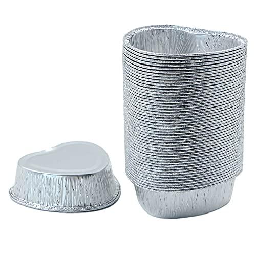 Bandejas de Aluminio de Goteo Pequeñas - 50 piezas de papel de aluminio en forma de corazón, bandeja para pasteles, para hornear, cocinar, recipiente pequeño, 10*9.5*3.3cm, 170ml