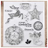 Kwan Crafts Merry Christmas Deer Star Wreath Clear Stamps for Card Making Decoration and DIY Scrapbooking