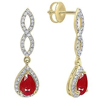 Dazzlingrock Collection 10K 7X5 MM Each Pear Ruby & Round Diamond Ladies Infinity Teardrop Dangling Drop Earrings Yellow Gold