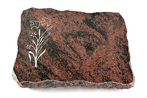 Generic Grabplatte, Grabstein, Grabkissen, Urnengrabstein, Liegegrabstein Modell Pure 40 x 30 x 5 cm Aruba-Granit, poliert inkl. Gravur (Sandstrahl-Ornament Zweig 1)