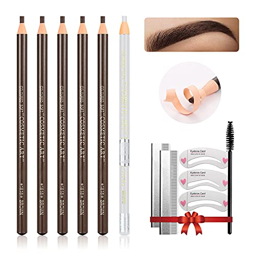 LSxia Waterproof Eye-Brows Pen-cil Set, Pull Cord Peel-off Eyebrow Pencil Microblading Eyebrow Pen Supplies Kit, White Eye-Liner Pencil and Eyebrows Tool Tattoo Makeup For Marking (5+1 Dark Brown)