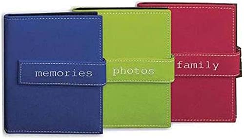 """Pioneer Expressions Series Bound Mini Photo Album, Random Designer Style Color Covers with Magnetic Closure Strap, Holds 200 4x6"""" Photos, 2 Per Page."""