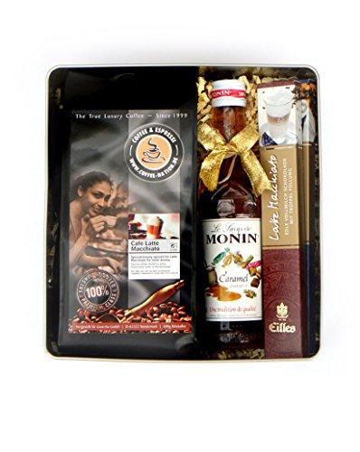 MACCHIATO Geschenkdose mit Kaffeebohnen, Karamell Sirup und Schokosticks