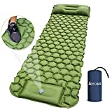 Camping Sleeping Pad, Extra Thick Durable Camping Inflatable Mat with Air Pillow, Foot Press Lightweight Backpacking Air Mattress for Backpacking Hiking Traveling (Green)