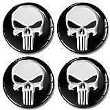 SkinoEu® 4 x 60mm 3D Gel Silikon Autoaufkleber Stickers Punisher Totenkopf Totenschädel Skull...