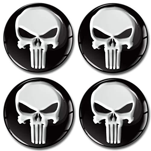 SkinoEu® 4 x 65mm Aufkleber 3D Gel Silikon Autoaufkleber Punisher Totenkopf Skull Felgenaufkleber Für Radkappen Nabenkappen Radnabendeckel Rad-Aufkleber Nabendeckel Auto Tuning A 165