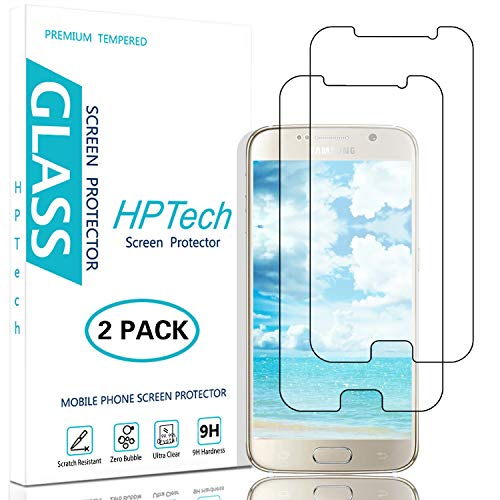 HPTech Galaxy S6 Screen Protector - Tempered Glass Film for Samsung Galaxy S6, Easy to Install, Bubble Free, 9H Hardness, 2-Pack