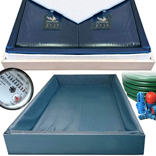 Traumreiter 2X Wasserbettmatratze 90x200 für 180x200 Wasserbetten + Sicherheitswanne + Schlauch + Wasserzähler für richtige Wasserbett Füllmenge I Wasserkern Matratzen Wasserbett Matratze