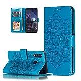 LEMAXELERS Motorola Moto E6S 2020 Hülle,Moto E6S 2020 Handyhülle Prägung Mandala-Blume Flip Hülle PU Leder Cover Magnet Schutzhülle Tasche Ständer Handytasche für Motorola Moto E6S 2020,LD Mandala Blue