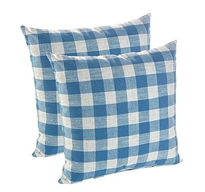 """Klear Vu Stripe Blue Coastal Linen Decorative Throw Pillow, 18"""" x 18"""", Set of 2"""