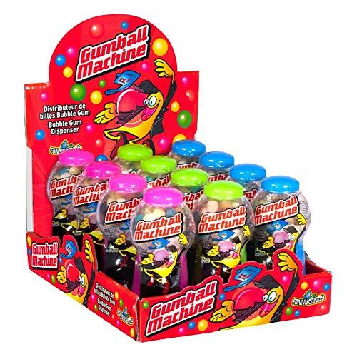 FunnyCandy Máquina Dispensadora De Bolas De Chicle 3 Colores, Sabores Variados - 12 Unidades