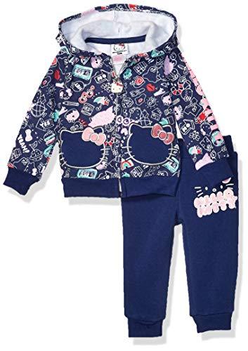 Hello Kitty Conjunto Activo de Sudadera con Capucha y pantalón para niña de 2 Piezas con Cremallera, Azul Marino/Flor y Brillo, 12 Meses