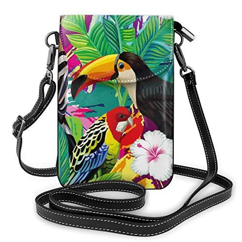 Lsjuee Bolso bandolera pequeño para teléfono móvil para mujer, cartera para teléfono inteligente con hombro extraíble para compras, pájaros tropicales y hojas de palmera con flores de hibisco, color