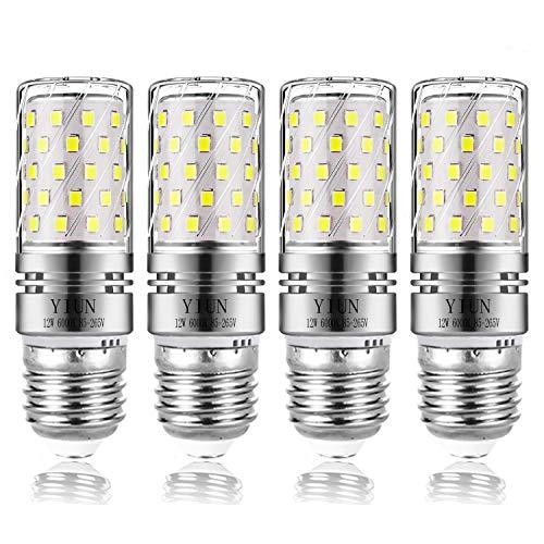Yiun E27 LED Kerzen Lampen, 12W LED Kerzenleuchter Glühbirnen 100 Watt gleichwertig, 1200lm, Cool White 6000K LED Kronleuchter Lampen, dekorative Kerzenständer E27, nicht dimmbare LED Lampe, 4er Pack