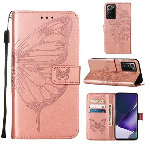 WJMWF Compatible con Funda Samsung Galaxy Note 20 Ultra 4G/5G Mariposa Volador Patrón Relieve PU Cuero Wallet [Cierres Magnéticos] [Ranuras para Tarjetas] [Soporte Plegable] Anti-Shock Caso-Oro Rosa