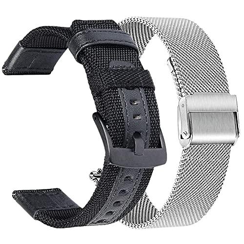 JACHJIN Correa de Reloj, Banda de Reloj Correa de Nylon Pulsera de Acero Inoxidable 20mm 22 mm SmartWatch (Color : Sets 6, Size : 20mm)